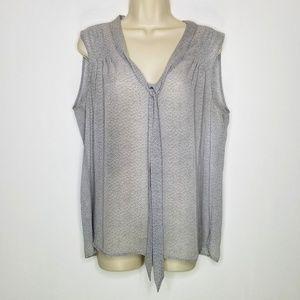 LOFT Sheer Gray Sleeveless Blouse Large